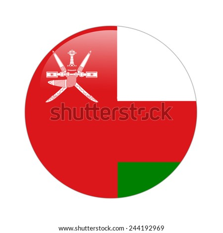 Oman flag button on white - stock photo