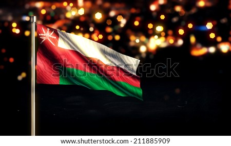 Oman National Flag City Light Night Bokeh Background 3D - stock photo