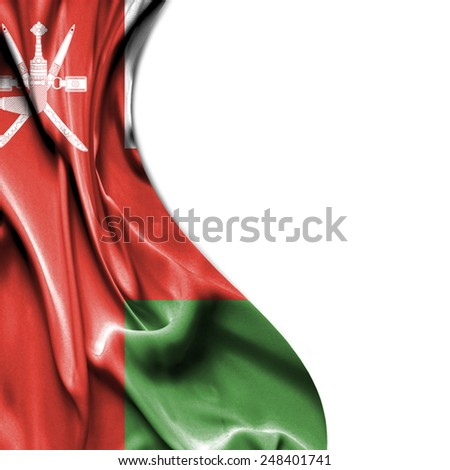 Oman waving silky flag isolated on white background - stock photo