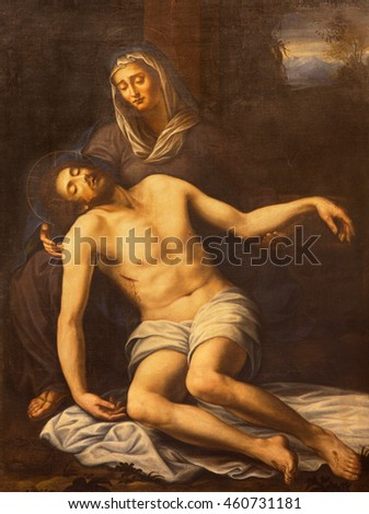 OME, ITALY - MARCH 10, 2016:  The painting of Pieta in church Basilica di San Marco