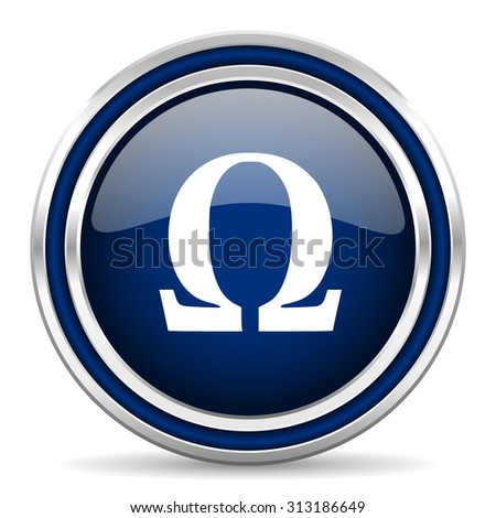omega blue glossy web icon modern computer design with double metallic silver border on white background with shadow for web and mobile app round internet button for business usage  - stock photo
