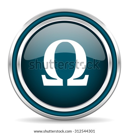 omega blue glossy web icon with double chrome border on white background with shadow    - stock photo