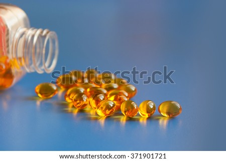 Omega 3 capsules from north Fish Oil - stock photo