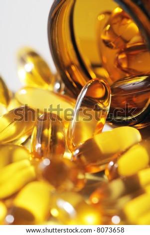 Omega 3 fish oil capsules - stock photo