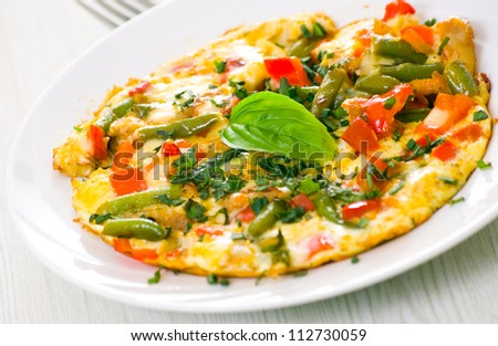Omelet with green bean - stock photo