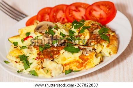 omelet with mushroom - stock photo