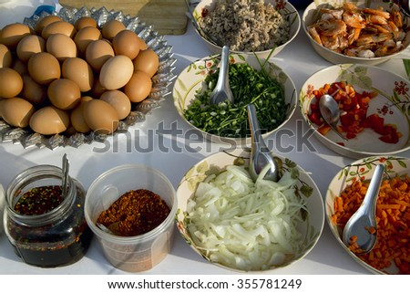 Omelette, omelette recipe, Omelette Ingredients , onion, chilly, ground pork, carrot,cooking class - stock photo