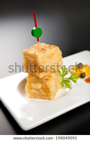 omelette on spit - stock photo