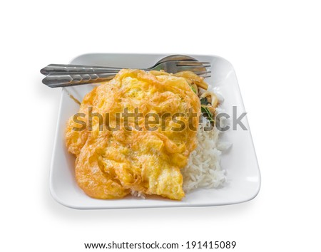 Omelette rice placed on white background.