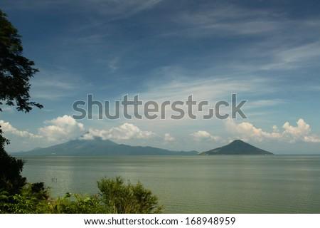 Ometepe Island volcano on Lake Nicaragua - stock photo