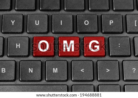 OMG or Oh My God red word on keyboard - stock photo
