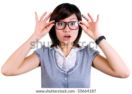 OMG! - women surprise expression - stock photo