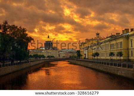 Ominous Dawn over the canal in St. Petersburg