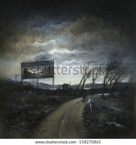 Ominous landscape - stock photo