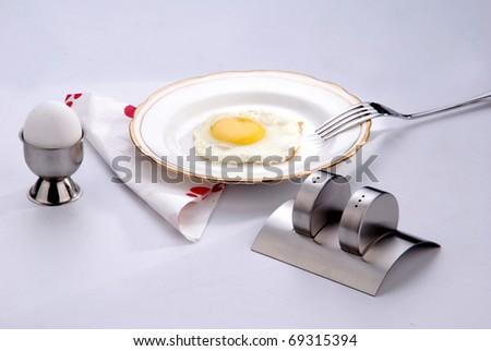 omlette in white plate - stock photo
