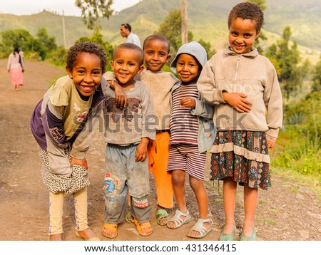 OMO, ETHIOPIA - SEPTEMBER 21, 2011: Unidentified Ethiopian children group. People in Ethiopia suffer of poverty due to the unstable situation - stock photo