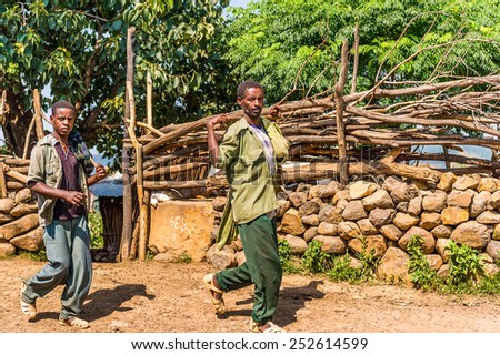 OMO, ETHIOPIA - SEPTEMBER 21, 2011: Unidentified Ethiopian man carries wood in the street. People in Ethiopia suffer of poverty due to the unstable situation - stock photo