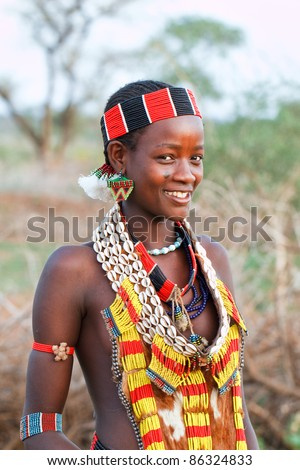 OMO VALLEY, ETHIOPIA - AUG 15: Unidentified Hamer woman in the village, the ethnic groups in the Omo valley could disappear because of Gibe III hydroelectric dam on Aug 15, 2011 in Omo Valley, Ethiopia.