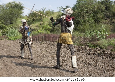 OMO VALLEY, ETHIOPIA - November 20, 2011 - The Mursi are ethnic group that inhabits southwestern Ethiopia.