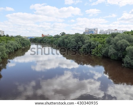 Omsk city. River Om. View from the Bridge