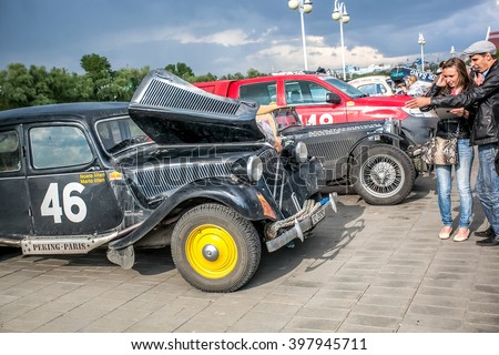 Omsk, Russia - June 11, 2013: stage of Rally Peking-Paris by retro cars in Siberia, mo