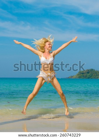 On a Beach Tanning Gracefully  - stock photo