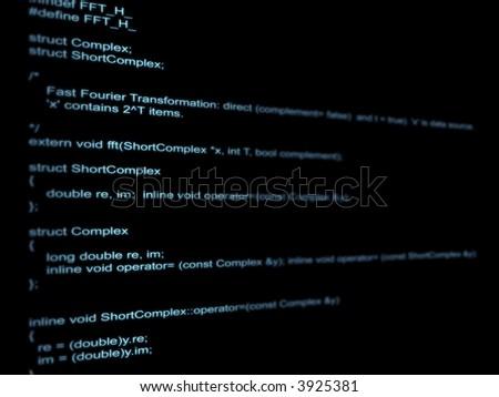 On a black background a program code - stock photo