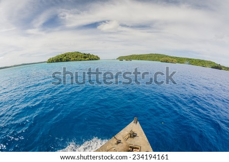on a boat in tropocal islands - stock photo