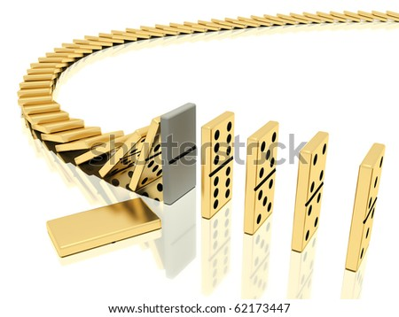 On a image  is shown golden domino bones on a white background  in action of  dominoes effect which was halted with help of particular domino bone placed instead of the usual which lies close - stock photo