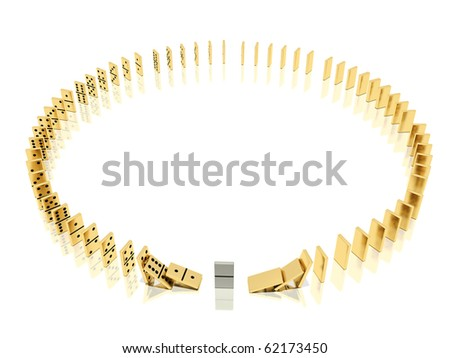 On a image  is shown golden dominoes which placed in a circle shape on a white background and mirror floor and especial domino bone because of which the dominoes effect  was started