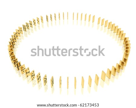 On a image  is shown golden dominoes which placed in a circle shape on a white background and mirror floor - stock photo