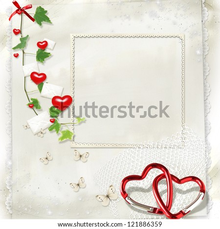 on a light background with letters and hearts green branch and a place for text - stock photo