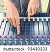 On a photo mixing desk. Close up photos - stock photo