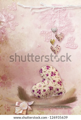 on a pink background with hearts one big heart with colored feathers - stock photo