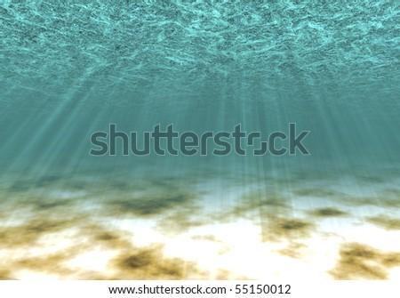 On a sea-bottom the sunlight falls - stock photo