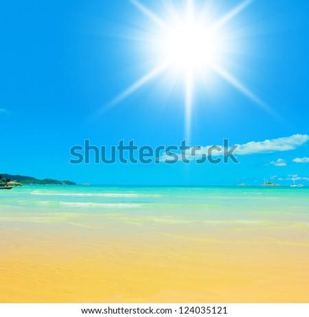 On a Sunny Beach Idyllic Place - stock photo