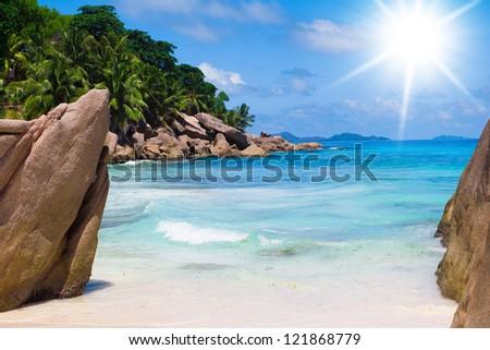On a Sunny Beach Sunshine Coast - stock photo