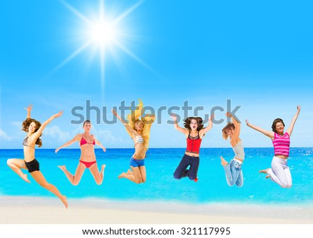 On a Sunny Day Active Girls  - stock photo