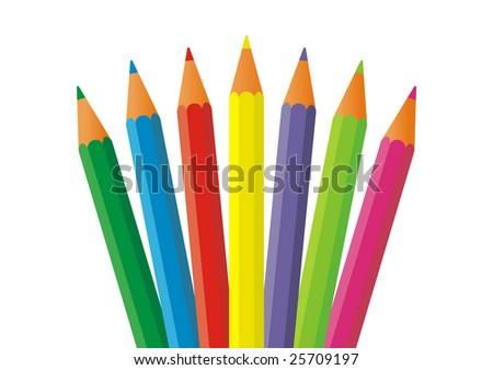 On a white background there are seven colour pencils. They are located in the bottom part of a composition. Pencils have a sharp tip.