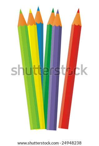 On a white background there are six colour pencils. They are located in the composition centre. Pencils have a sharp tip.