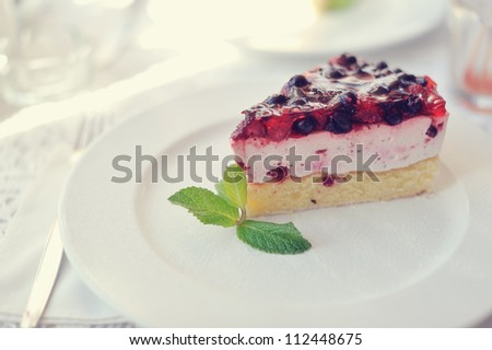 On a white plate an appetizing cake with a mint leaf - stock photo