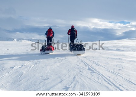 On a Winter Expedition - stock photo
