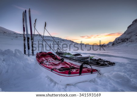 On a Winter Expedition in Northern Sweden - stock photo