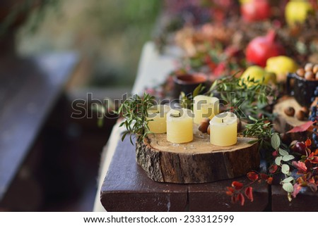on a wooden table foliage stump with white candles and fruit - stock photo