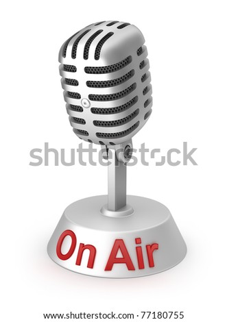 On Air and silver microphone - stock photo
