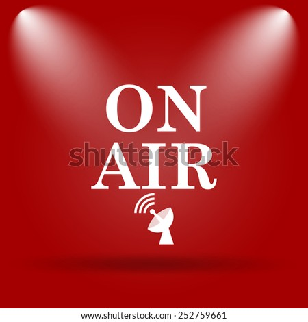 On air icon. Flat icon on red background.  - stock photo
