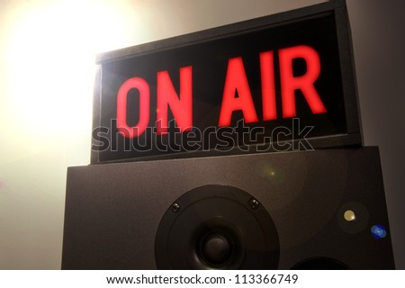 On Air Sign with Flare - stock photo