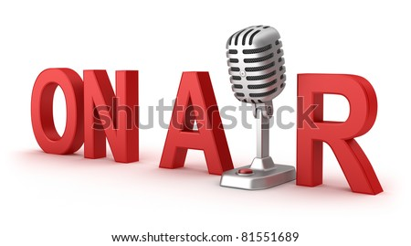 On Air word and microphone concept - stock photo