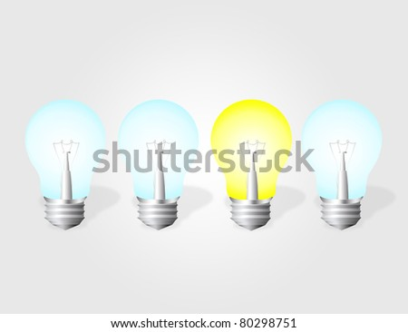 on and off electric bulbs over gray background.illustration