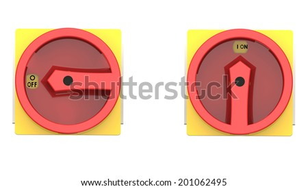 On and off power switches front view isolated on white - stock photo